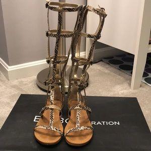BCBG Snakeskin Gladiator Sandals